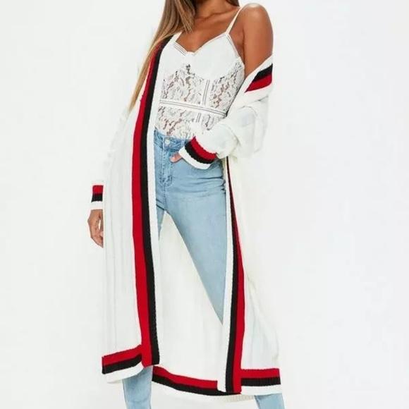 283f9fcfe9 Womens NEW Ivory Red Striped Sweater Cardigan